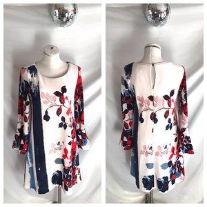 Anthropologie Maeve Floral Knit Bell Sleeve Dress
